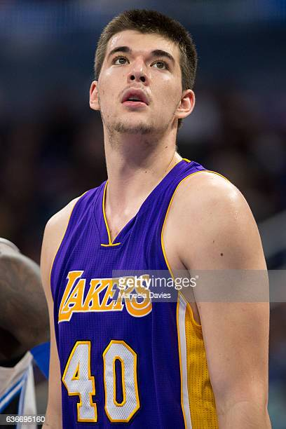 Ivica Zubac of the Los Angeles Lakers waits during a free throw against the Orlando Magic at Amway Center on December 23 2016 in Orlando Florida NOTE...