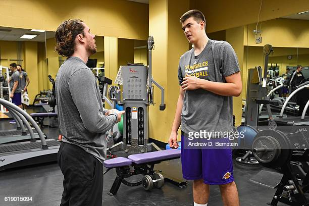 Ivica Zubac of the Los Angeles Lakers works out before the game against the Houston Rockets on October 26 2016 at STAPLES Center in Los Angeles...