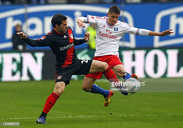 Ivo Ilicevic of Hamburg and Gonzalo Castro of Leverkusen battle for the ball during the Bundsliga match between Hamburger SV and Bayer 04 Leverkusen...