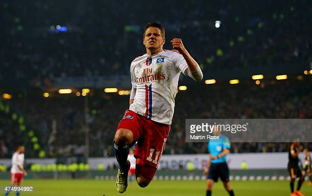 Ivo Ilicevic of Hamburg celebrates after scoring the equalizing goal during the Bundesliga first leg play off match between Hamburger SV and...