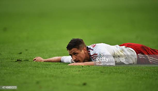Ivo Ilicevic of Hamburg looks dejected during the first leg of the Bundesliga playoff match between Hamburger SV and Karlsruher SC at the Imtech...