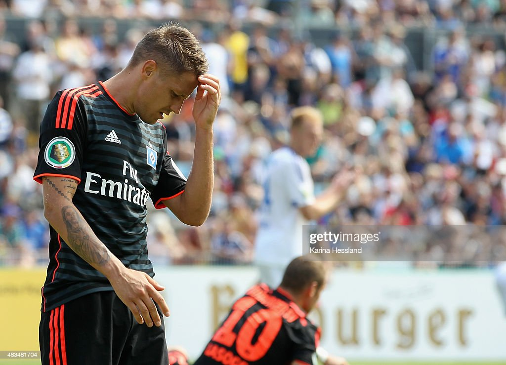 Ivo Ilicevic of Hamburger SV looks dejected after a goal chance during the First Round of DFBCup between FC Carl Zeiss Jena and Hamburger SV at...