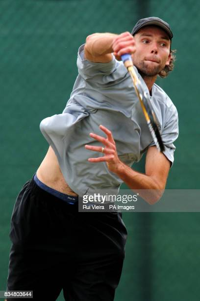 Ivo Karlovic during his single match against Sam Querrey during the Slazenger Open 2008 at the City of Nottingham Tennis Centre Nottingham