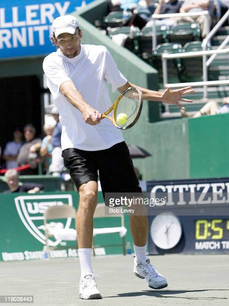 Ivo Karlovic of Croatia against Mariano Zabaleta of Argentina during the finals of the US Men's Clay Court Championships in Houston Texas on April 15...