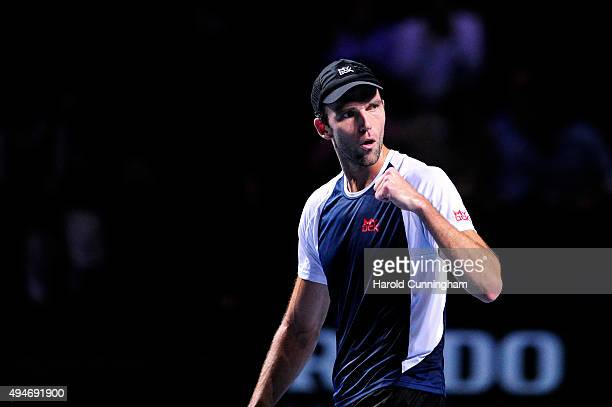 Ivo Karlovic of Croatia celebrates a point during the second day of the Swiss Indoors ATP 500 tennis tournament against Stan Wawrinka of Switzerland...