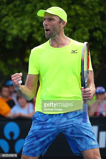 Ivo Karlovic of Croatia celebrates a point in his second round match against Andrew Whittington of Australia on day four of the 2017 Australian Open...