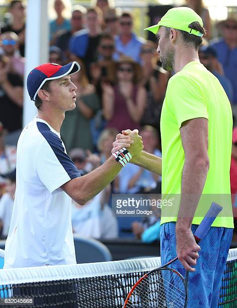 Ivo Karlovic of Croatia celebrates winning his second round match against Andrew Whittington of Australia on day four of the 2017 Australian Open at...
