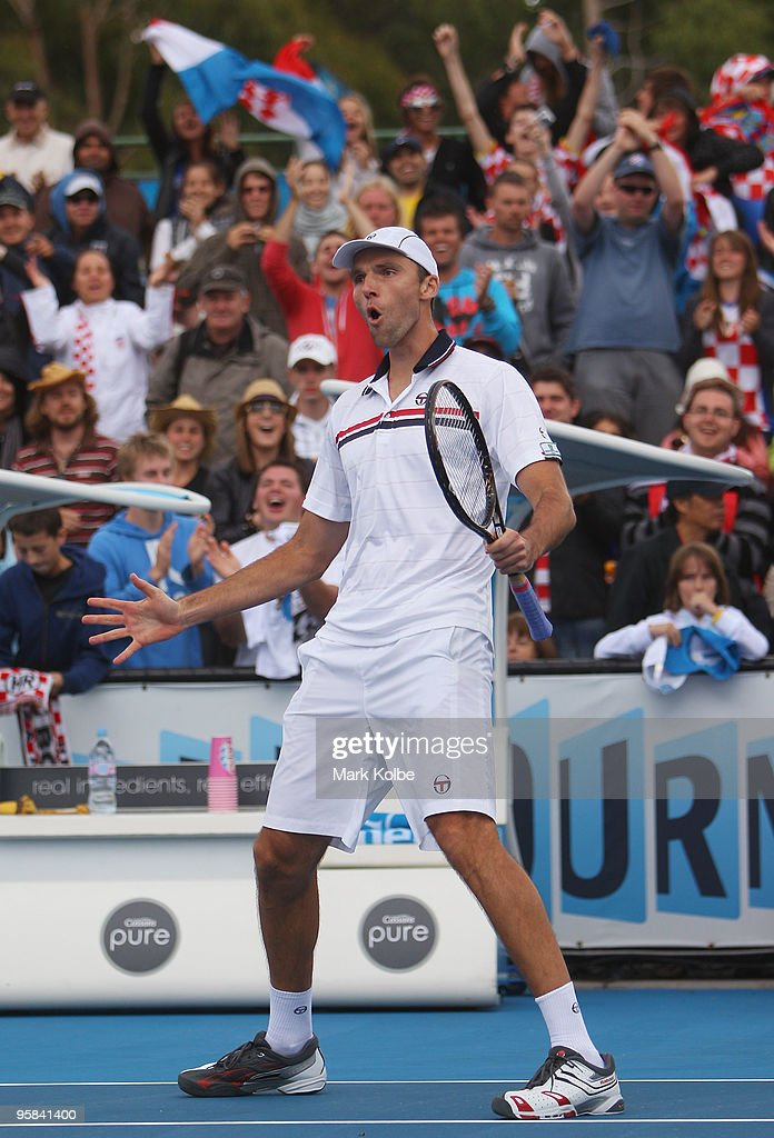 <a gi-track='captionPersonalityLinkClicked' href=/galleries/search?phrase=Ivo+Karlovic&family=editorial&specificpeople=605320 ng-click='$event.stopPropagation()'>Ivo Karlovic</a> of Croatia celebrates winning match point after his first round match against Radek Stepanek of the Czech Republic during day one of the 2010 Australian Open at Melbourne Park on January 18, 2010 in Melbourne, Australia.