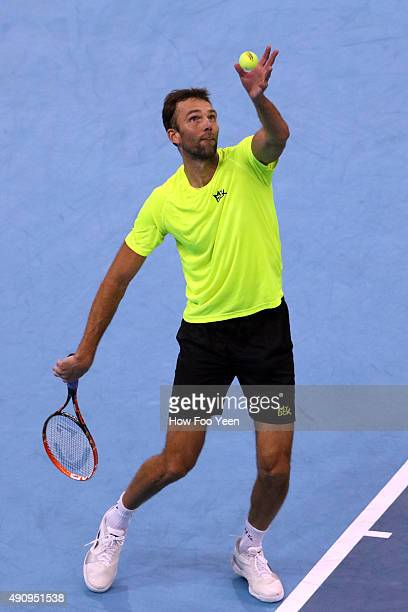 Ivo Karlovic of Croatia competes against Nick Krygios of Australia during the 2015 ATP Malaysian Open at Bukit Jalil National Stadium on October 2...