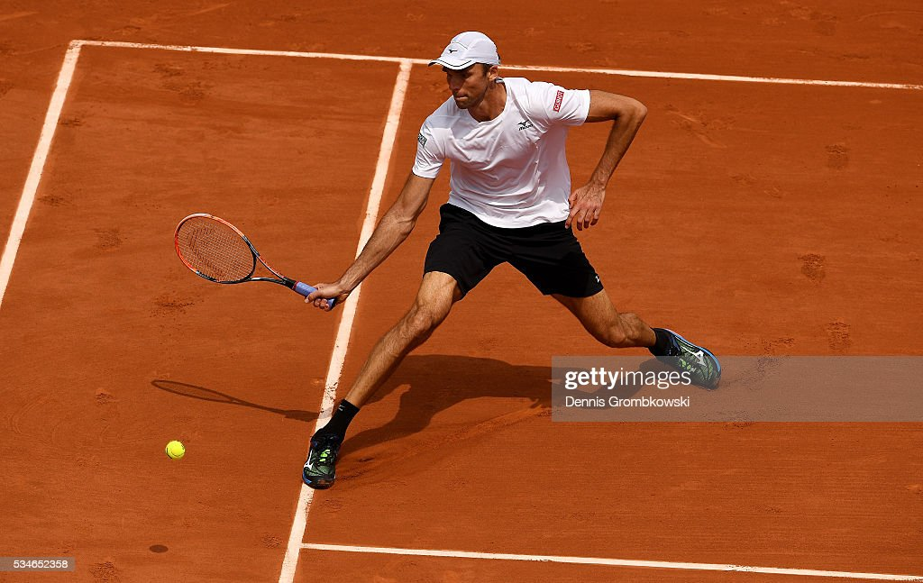 <a gi-track='captionPersonalityLinkClicked' href=/galleries/search?phrase=Ivo+Karlovic&family=editorial&specificpeople=605320 ng-click='$event.stopPropagation()'>Ivo Karlovic</a> of Croatia hits a forehand during the Men's Singles third round match against Andy Murray of Great Britain on day six of the 2016 French Open at Roland Garros on May 27, 2016 in Paris, France.