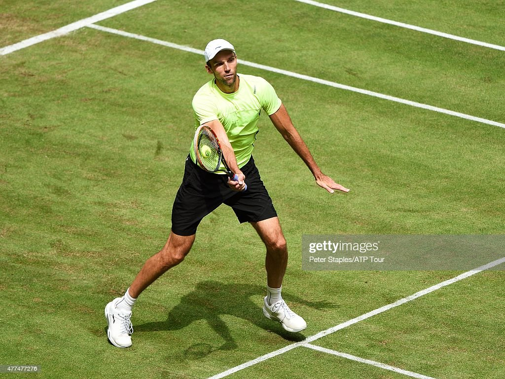 Ivo Karlovic of Croatia in action against Alexander Zverev of Germany at the Gerry Weber Open on June 17 2015 in Halle Germany