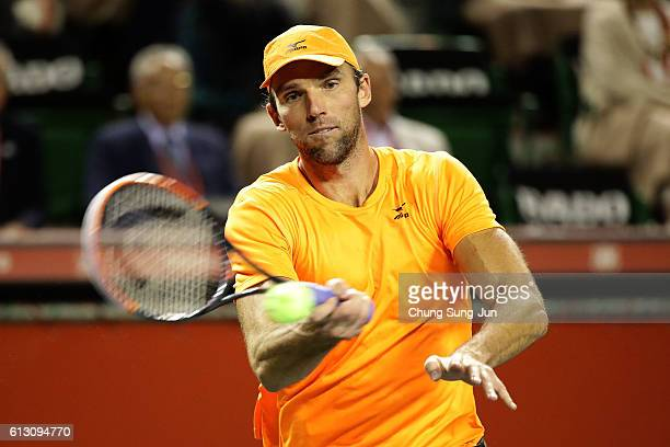 Ivo Karlovic of Croatia in action during the men's singles quarterfinal match against Gael Monfils of France on day five of Rakuten Open 2016 at...