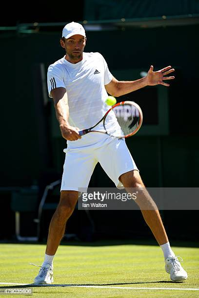 Ivo Karlovic of Croatia in action in his Gentlemen's Singles first round match against Elias Ymer of Sweden during day two of the Wimbledon Lawn...