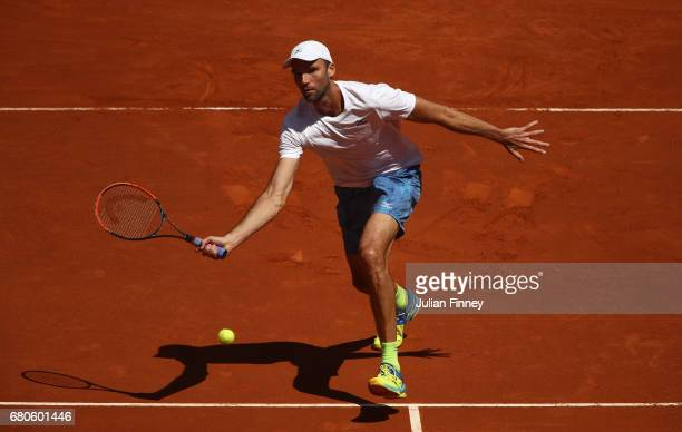 Ivo Karlovic of Croatia in action in his match against Roberto Bautista Agut of Spain during day four of the Mutua Madrid Open tennis at La Caja...