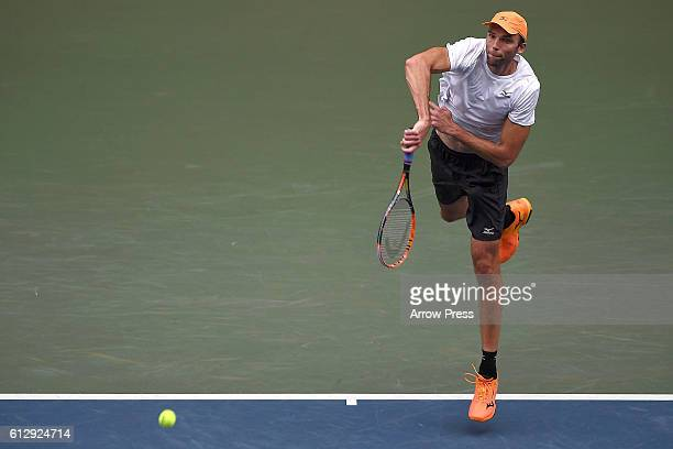 Ivo Karlovic of Croatia makes a serve during the men's singles second round match against Janko Tipsarevic of Serbia on day four of Rakuten Open 2016...