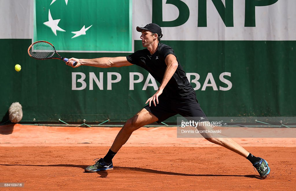 <a gi-track='captionPersonalityLinkClicked' href=/galleries/search?phrase=Ivo+Karlovic&family=editorial&specificpeople=605320 ng-click='$event.stopPropagation()'>Ivo Karlovic</a> of Croatia plays a forehand during the Men's Singles second round match against Jordan Thompson of Australia at Roland Garros on May 25, 2016 in Paris, France.