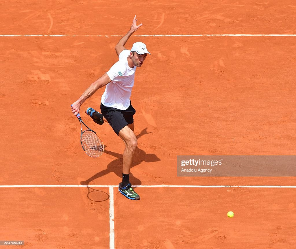 Ivo Karlovic of Croatia returns to Andy Murray of United Kingdom (not seen) during the men's single third round match at the French Open tennis tournament at Roland Garros Stadium in Paris, France on May 27, 2016.