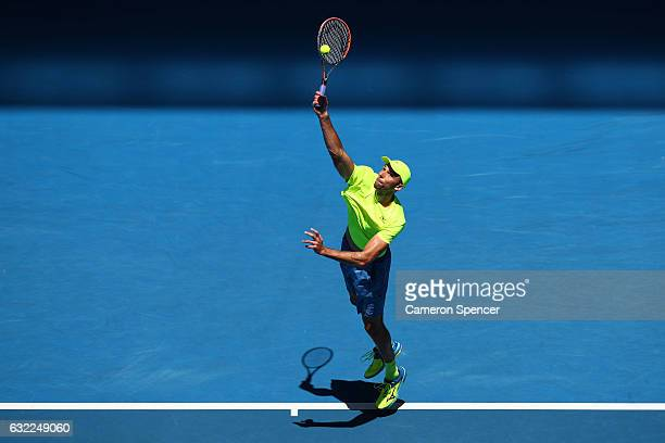 Ivo Karlovic of Croatia serves in his third round match against David Goffin of Belgium on day six of the 2017 Australian Open at Melbourne Park on...