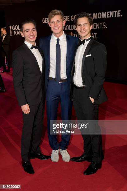 Ivo Kortlang Damian Hardung and Tim Oliver Schultz arrive for the Goldene Kamera on March 4 2017 in Hamburg Germany