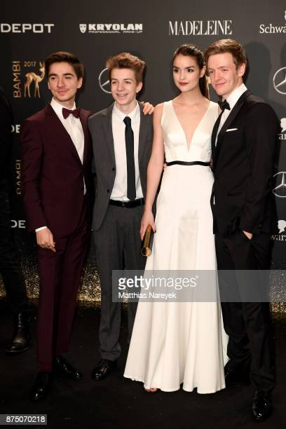 Ivo Kortlang Nick Julius Schuck Luise Befort and Timur Bartels arrive at the Bambi Awards 2017 at Stage Theater on November 16 2017 in Berlin Germany