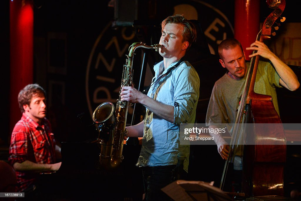 Ivo Neame, Marius Neset and Petter Eldh perform on stage at Pizza Express Jazz Club on April 22, 2013 in London, England.
