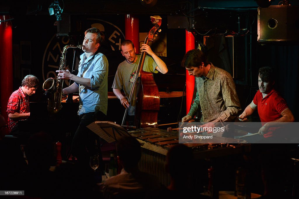 Ivo Neame, Marius Neset, Petter Eldh, Jim Hart and Anton Eger perform on stage at Pizza Express Jazz Club on April 22, 2013 in London, England.