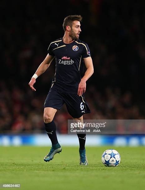 Ivo Pinto of Dinamo Zagreb during the UEFA Champions League match between Arsenal and Dinamo Zagreb at the Emirates Stadium on November 24 2015 in...