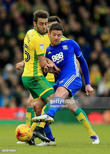 Ivo Pinto of Norwich City and David Davis of Birmingham City compete for the ball during the Sky Bet Championship match between Norwich City and...