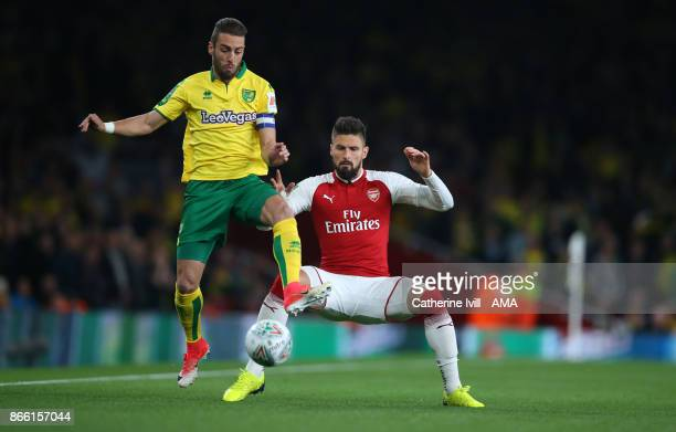 Ivo Pinto of Norwich City and Olivier Giroud of Arsenal during the Carabao Cup Fourth Round match between Arsenal and Norwich City at Emirates...