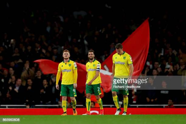 Ivo Pinto of Norwich City Harrison Reed of Norwich City and Christoph Zimmermann of Norwich City look dejected after Edward Nketiah scored the first...