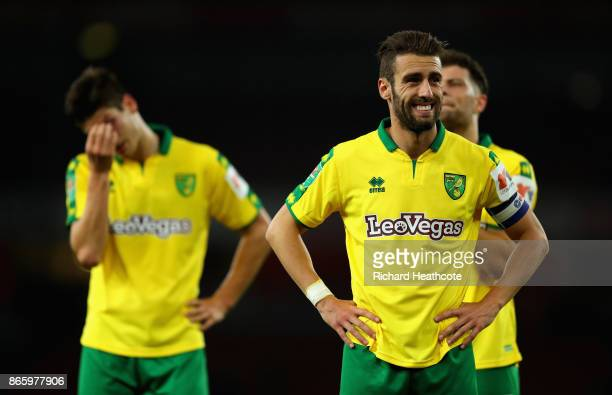 Ivo Pinto of Norwich City looks dejected after the Carabao Cup Fourth Round match between Arsenal and Norwich City at Emirates Stadium on October 24...