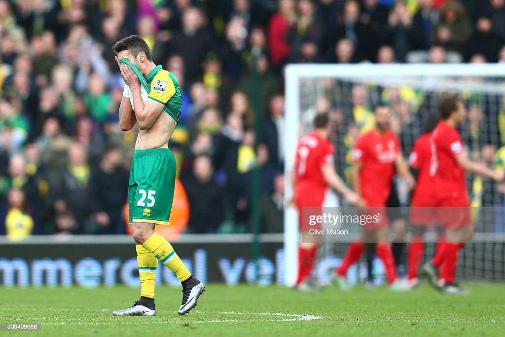 Ivo Pinto of Norwich City reacts after Liverpool's fifth goal during the Barclays Premier League match between Norwich City and Liverpool at Carrow...