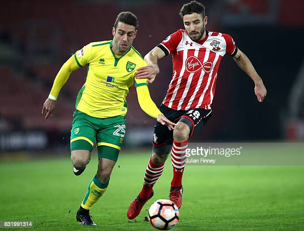 Ivo Pinto of Norwich City takes on Sam McQueen of Southampton during The Emirates FA Cup Third Round Replay match between Southampton and Norwich...