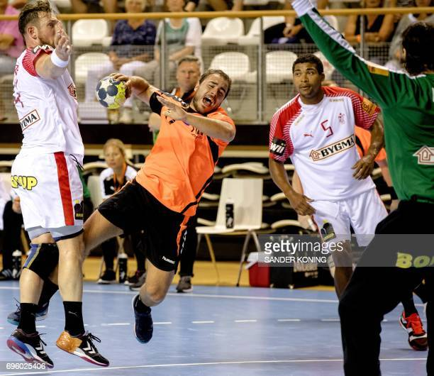Ivo Steins of The Netherlands jumps to shoot on goal during the EC qualification handball match Denmark vs Netherlands in Almere on June 14 2017 /...