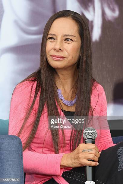 Ivonne Guevara of Flans attends a press conference to announce their 30th anniversary and new tour at Auditorio Nacional on August 26 2015 in Mexico...