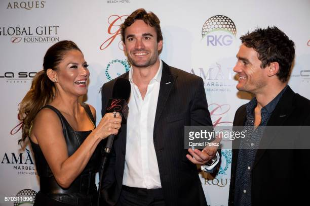 Ivonne Reyes Thom Evans and Max Evans attend at the 2nd Annual Global Gift Ronan Keating Golf Tournament Dinner and Concert on November 04 2017 in...