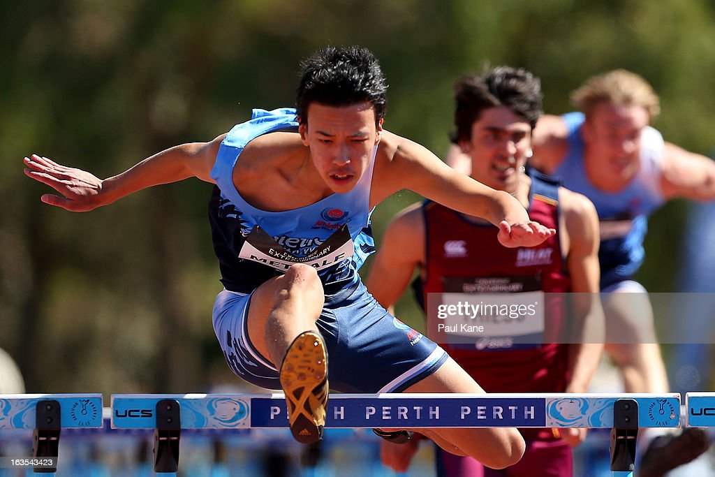 Ivor Metcalf of New South Wales competes in the Mens under 20 110 metre hurdle prelims during day one of the Australian Junior Championships at the WA Athletics Stadium on March 12, 2013 in Perth, Australia.
