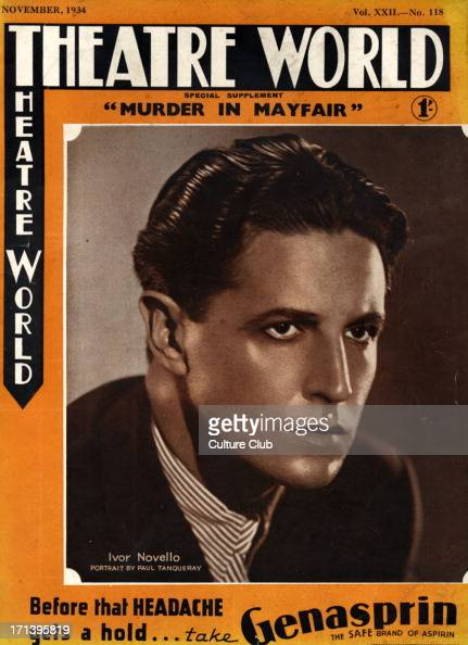 Ivor Novello portrait of the Welsh singer actor as 'Jacques Clavel' in his own play 'Murder in Mayfair' performed at the Globe Theatre London...