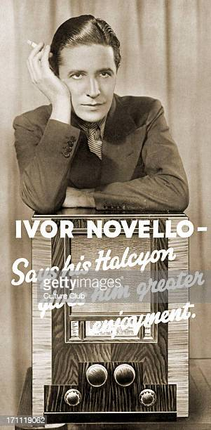 Ivor Novello portrait of the Welsh singer actor in an advertisement for the radio gramophone company 'Halycon' October 1935 Holding a cigarette...