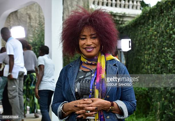 Ivorian actress director and show creator Akissi Delta poses for a picture at a film set during the shooting of the television series 'Ma Famille' in...