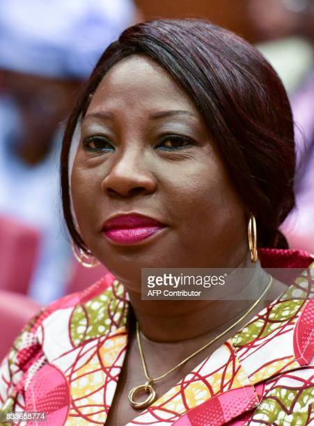 Ivorian Minister of Education Kandia Camara Kamissoko attends the signing of an accord between the Ivorian government and the trade unions to...