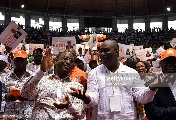 Ivorian national assembly president Guillaume Soro and state minister Ibrahim Ouattara take part in the congress of the 'Rassemblement des...