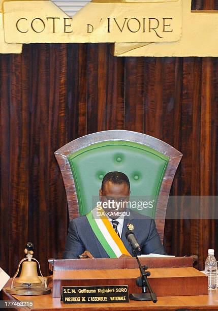 Ivorian National Assembly's President Guillaume Soro chairs the Assembly as Ivorian deputies review laws on nationality and landed property during a...