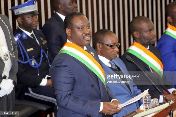 Ivorian Parliament speaker Soro Guillaume makes a speech during the inauguration of newly established National Assembly in Abidjan Ivory Coast on...
