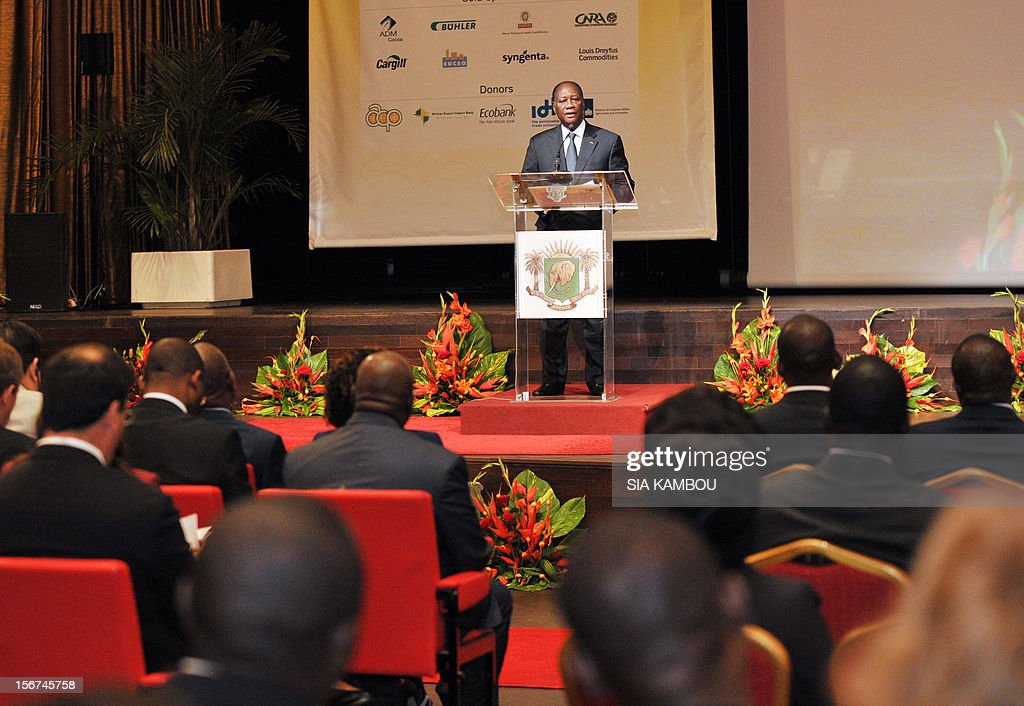 Ivorian president Alassane Ouattara gives a speech during the opening the 2012 World Cocoa conference in Abidjan. Ivory Coast on Tuesday hosts world players in the cocoa business for a conference on how to face up to the challenges posed by soaring demand. AFP PHOTO/ SIA KAMBOU