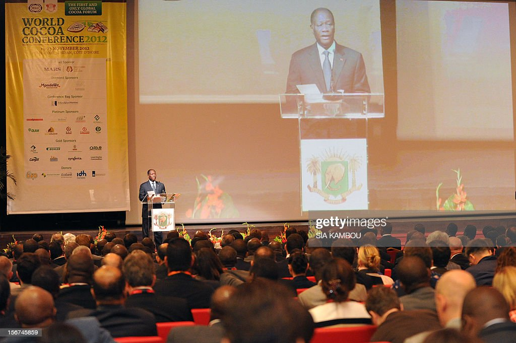 Ivorian President, Alassane Ouattara gives a speech during the opening the 2012 World Cocoa conference in Abidjan. Ivory Coast on Tuesday hosts world players in the cocoa business for a conference on how to face up to the challenges posed by soaring demand.