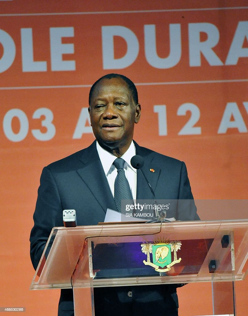 Ivorian President Alassane Ouattara gives an address on April 3 2015 in Abidjan during the inauguration of the International Exhibition of...