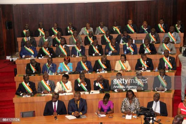 Ivorian representatives are seen during the inauguration of newly established National Assembly in Abidjan Ivory Coast on April 03 2017