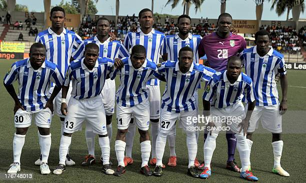 Ivorian Sewe Sport de San Pedro team's players pose prior to the African Champions league football match Sewe Sport de SanPedro vs Esperance Tunis on...