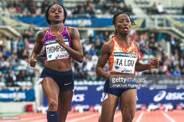 Ivorian sprinter Murielle Ahouré Jamaican sprinter Elaine Thompson and Ivorian sprinter MarieJosee Ta Lou compete in the 100m women during Meeting de...